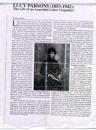 Lucy Parsons (1853-1942) The Life of an Anarchist Labor Organizer
